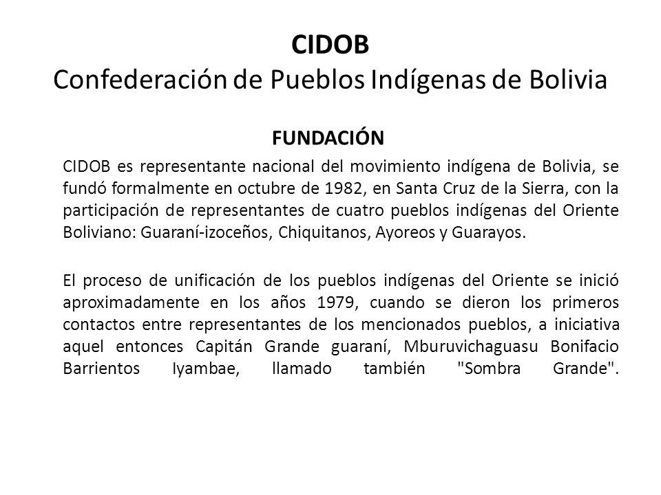 CIDOB Confederación de Pueblos Indígenas de Bolivia FUNDACIÓN CIDOB es representante nacional del movimiento indígena de Bolivia, se fundó formalmente