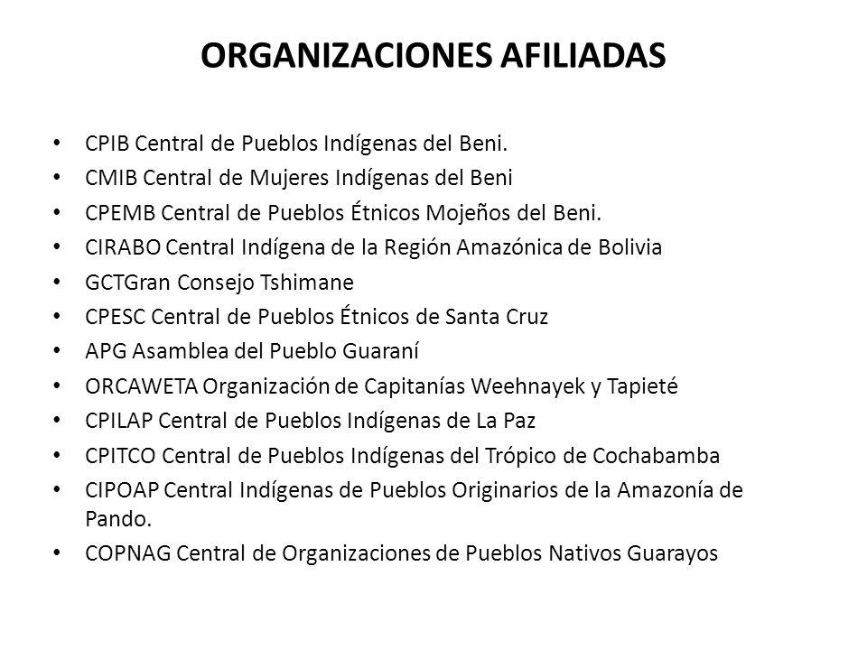 ORGANIZACIONES AFILIADAS CPIB Central de Pueblos Indígenas del Beni. CMIB Central de Mujeres Indígenas del Beni CPEMB Central de Pueblos Étnicos Mojeñ