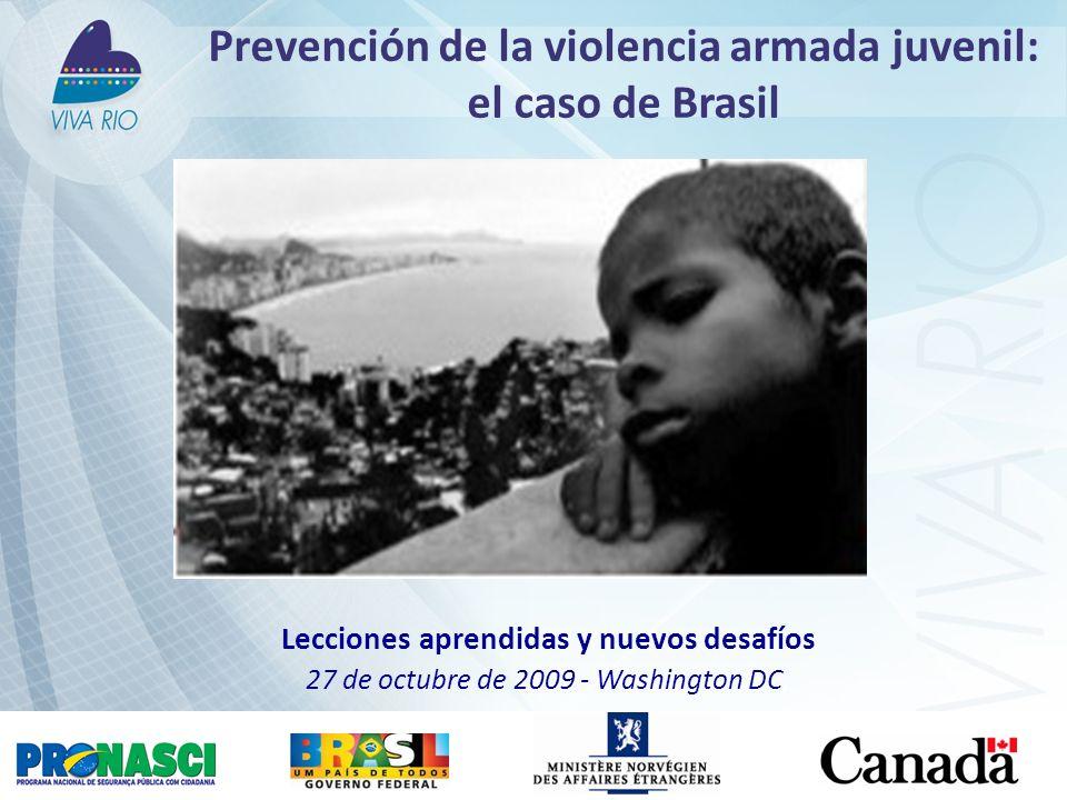 Prevención de la violencia armada juvenil: el caso de Brasil Lecciones aprendidas y nuevos desafíos 27 de octubre de 2009 - Washington DC,