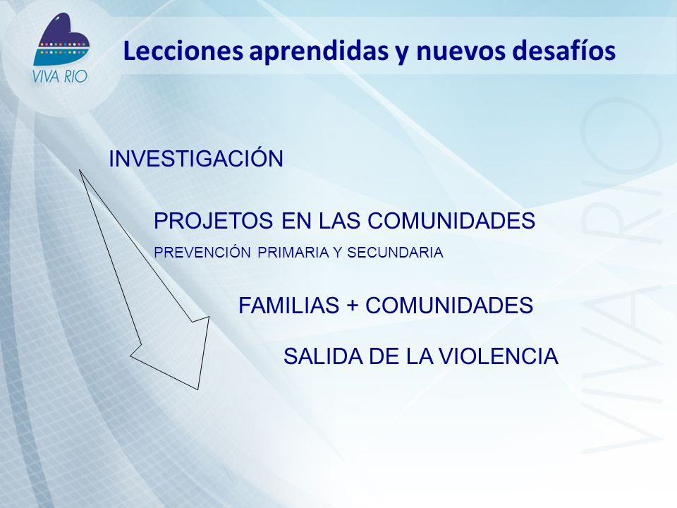 Lecciones aprendidas y nuevos desafíos FAMILIAS + COMUNIDADES PROJETOS EN LAS COMUNIDADES PREVENCIÓN PRIMARIA Y SECUNDARIA INVESTIGACIÓN SALIDA DE LA VIOLENCIA