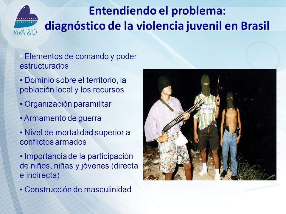 Entendiendo el problema: diagnóstico de la violencia juvenil en Brasil Elementos de comando y poder estructurados Dominio sobre el territorio, la población local y los recursos Organización paramilitar Armamento de guerra Nivel de mortalidad superior a conflictos armados Importancia de la participación de niños, niñas y jóvenes (directa e indirecta) Construcción de masculinidad