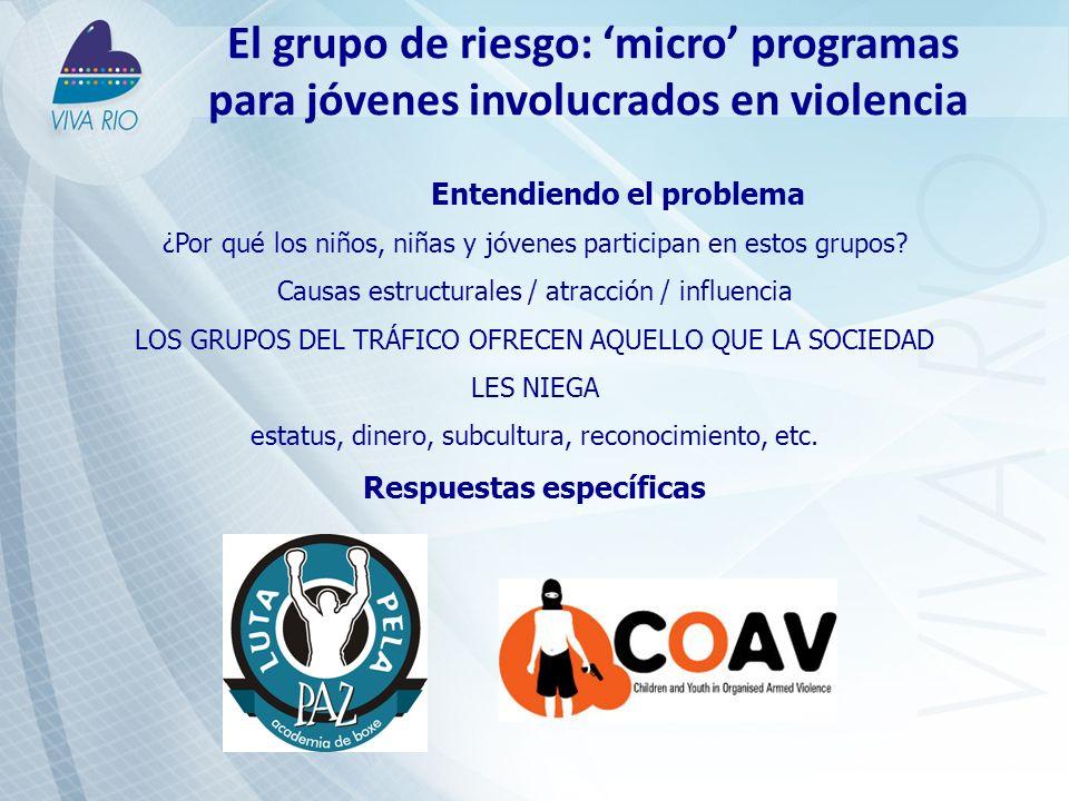 El grupo de riesgo: micro programas para jóvenes involucrados en violencia Entendiendo el problema ¿Por qué los niños, niñas y jóvenes participan en estos grupos.