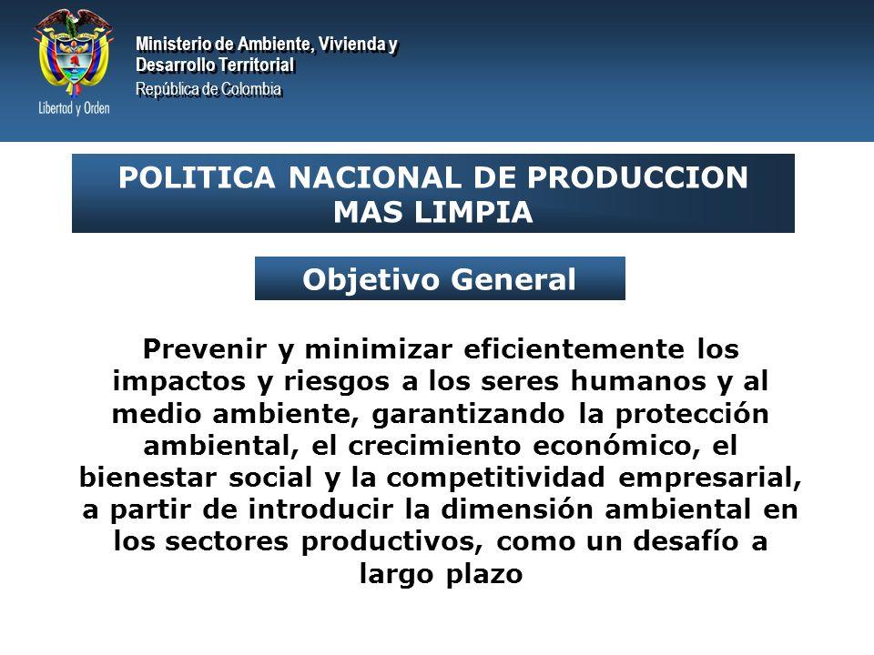 Ministerio de Ambiente, Vivienda y Desarrollo Territorial República de Colombia Ministerio de Ambiente, Vivienda y Desarrollo Territorial República de Colombia Objetivos Específicos Aumentar la eficiencia energética y utilizar energéticos más limpios Prevenir y minimizar la generación de cargas contaminantes Prevenir, mitigar, corregir y compensar los impactos ambientales sobre la población y los ecosistemas Adoptar tecnologías más limpias y prácticas de mejoramiento continuo de la gestión ambiental sectorial Minimizar y aprovechar los residuos Optimizar el consumo de recursos naturales y materias primas