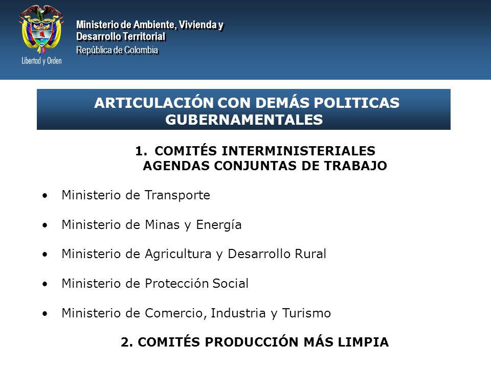 Ministerio de Ambiente, Vivienda y Desarrollo Territorial República de Colombia Ministerio de Ambiente, Vivienda y Desarrollo Territorial República de Colombia SISTEMA DE CALIDAD AMBIENTAL EN COLOMBIA 1.