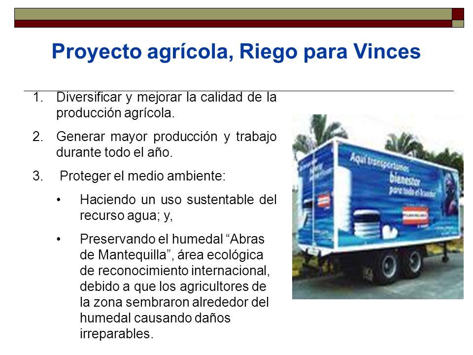 Proyecto agrícola, Riego para Vinces 1.Diversificar y mejorar la calidad de la producción agrícola. 2.Generar mayor producción y trabajo durante todo