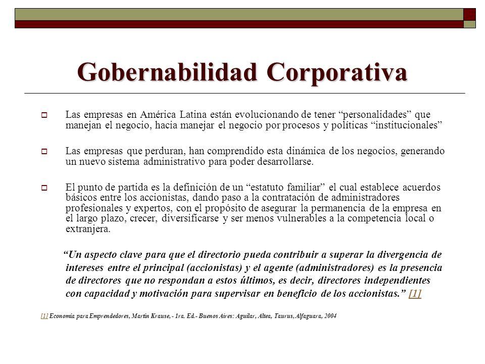 Gobernabilidad Corporativa Las empresas en América Latina están evolucionando de tener personalidades que manejan el negocio, hacia manejar el negocio