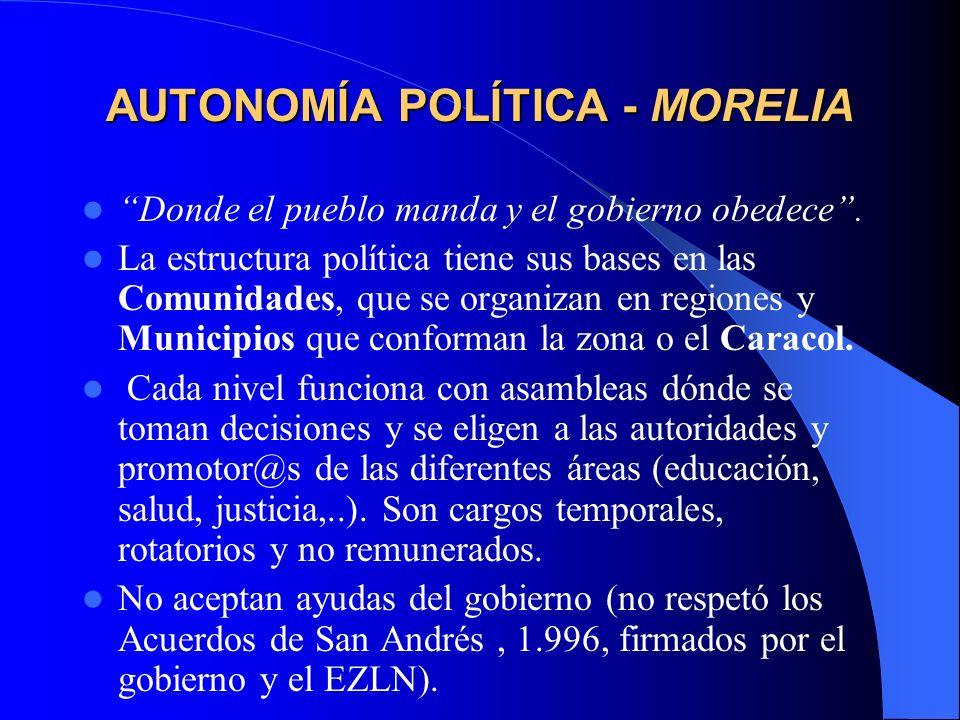 AUTONOMÍA POLÍTICA ROBERTO BARRIOS Las Juntas de Buen Gobierno( JBG) son nombradas por sus bases en los municipios.