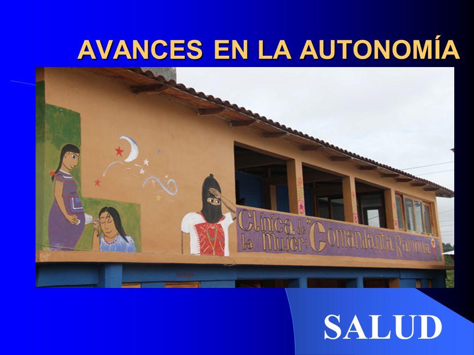 AVANCES EN LA AUTONOMÍA SALUD – OVENTIK - Creación de 11 micro-clínicas y 40 casas de salud repartidas en todos los municipios, donde ejercen unos 332 promotores de Salud.