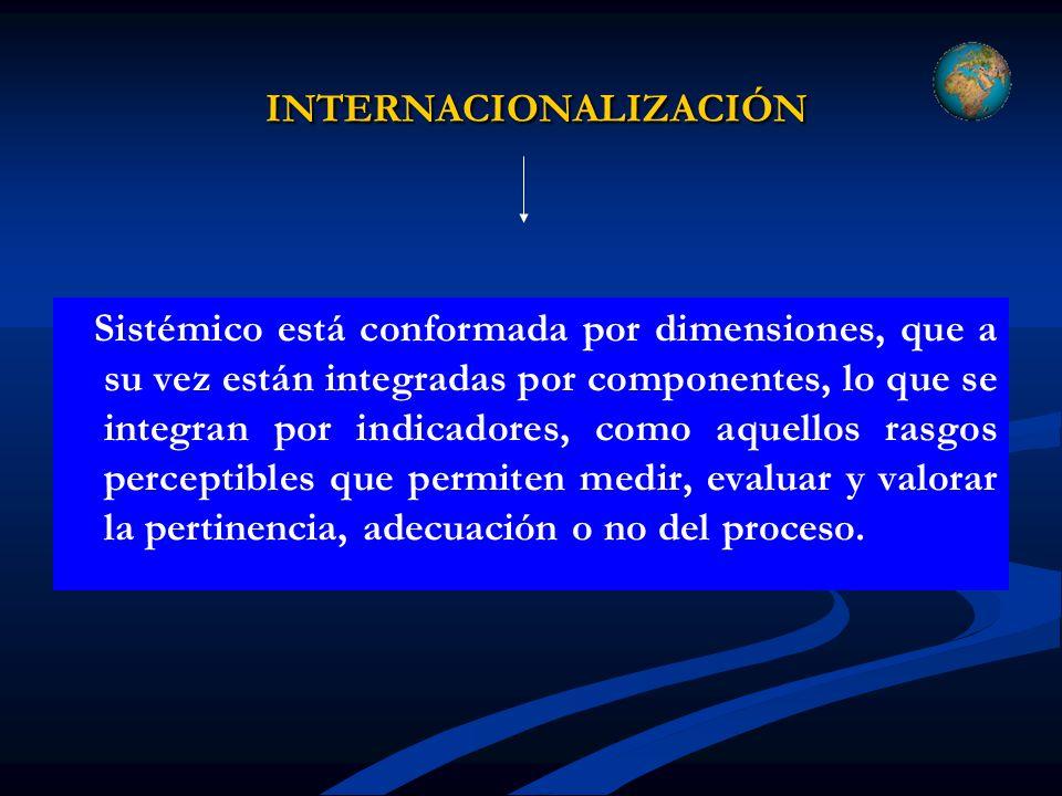 INTERNACIONALIZACIÓN INTERNACIONALIZACIÓN Sistémico está conformada por dimensiones, que a su vez están integradas por componentes, lo que se integran