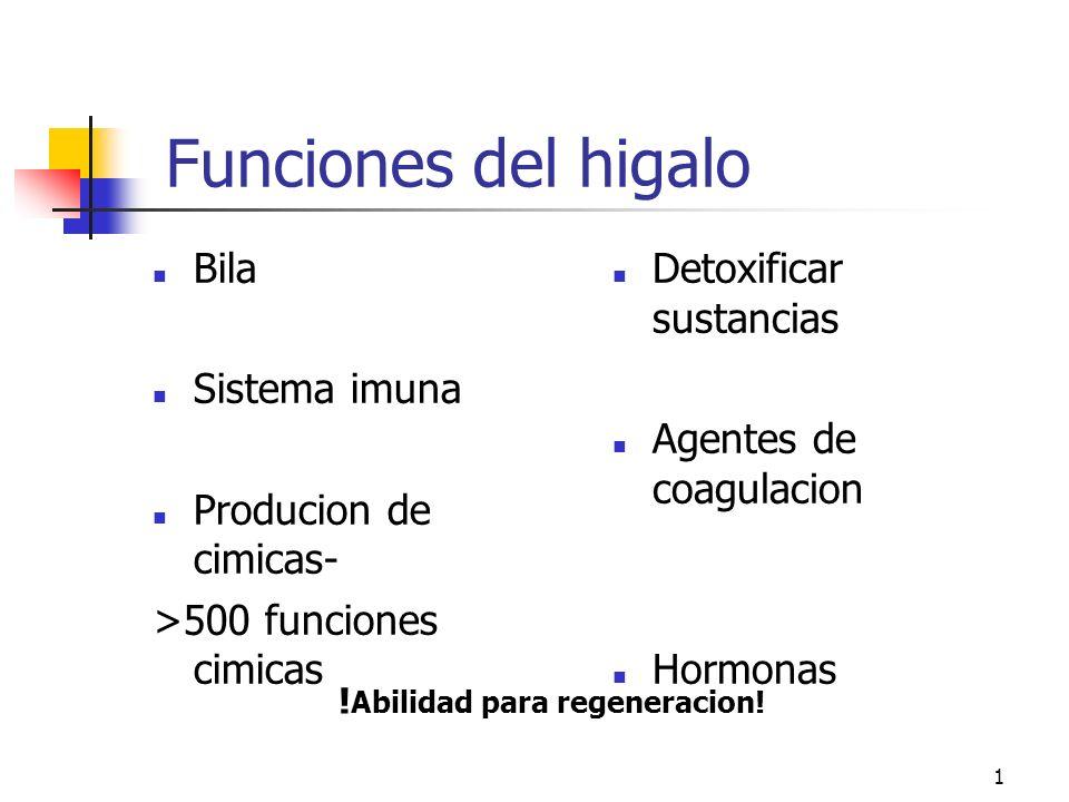 1 Funciones del higalo Bila Sistema imuna Producion de cimicas- >500 funciones cimicas Detoxificar sustancias Agentes de coagulacion Hormonas .