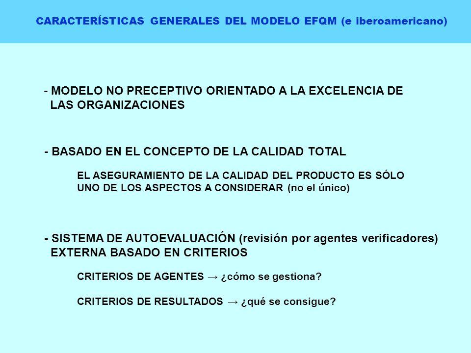 CARACTERÍSTICAS GENERALES DEL MODELO EFQM (e iberoamericano) - MODELO NO PRECEPTIVO ORIENTADO A LA EXCELENCIA DE LAS ORGANIZACIONES - BASADO EN EL CON