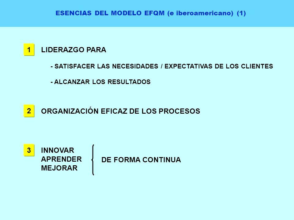 ESENCIAS DEL MODELO EFQM (e iberoamericano) (1) 1 LIDERAZGO PARA - SATISFACER LAS NECESIDADES / EXPECTATIVAS DE LOS CLIENTES - ALCANZAR LOS RESULTADOS