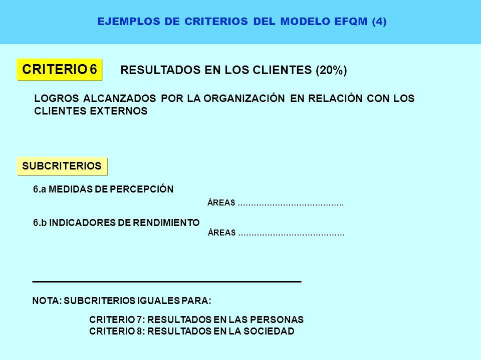 EJEMPLOS DE CRITERIOS DEL MODELO EFQM (4) CRITERIO 6 RESULTADOS EN LOS CLIENTES (20%) LOGROS ALCANZADOS POR LA ORGANIZACIÓN EN RELACIÓN CON LOS CLIENT