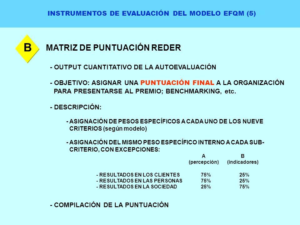 INSTRUMENTOS DE EVALUACIÓN DEL MODELO EFQM (5) MATRIZ DE PUNTUACIÓN REDER B - OUTPUT CUANTITATIVO DE LA AUTOEVALUACIÓN - OBJETIVO: ASIGNAR UNA PUNTUAC