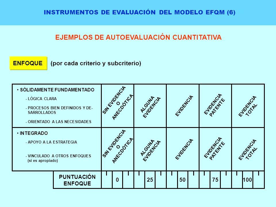INSTRUMENTOS DE EVALUACIÓN DEL MODELO EFQM (6) EJEMPLOS DE AUTOEVALUACIÓN CUANTITATIVA ENFOQUE(por cada criterio y subcriterio) SÓLIDAMENTE FUNDAMENTA