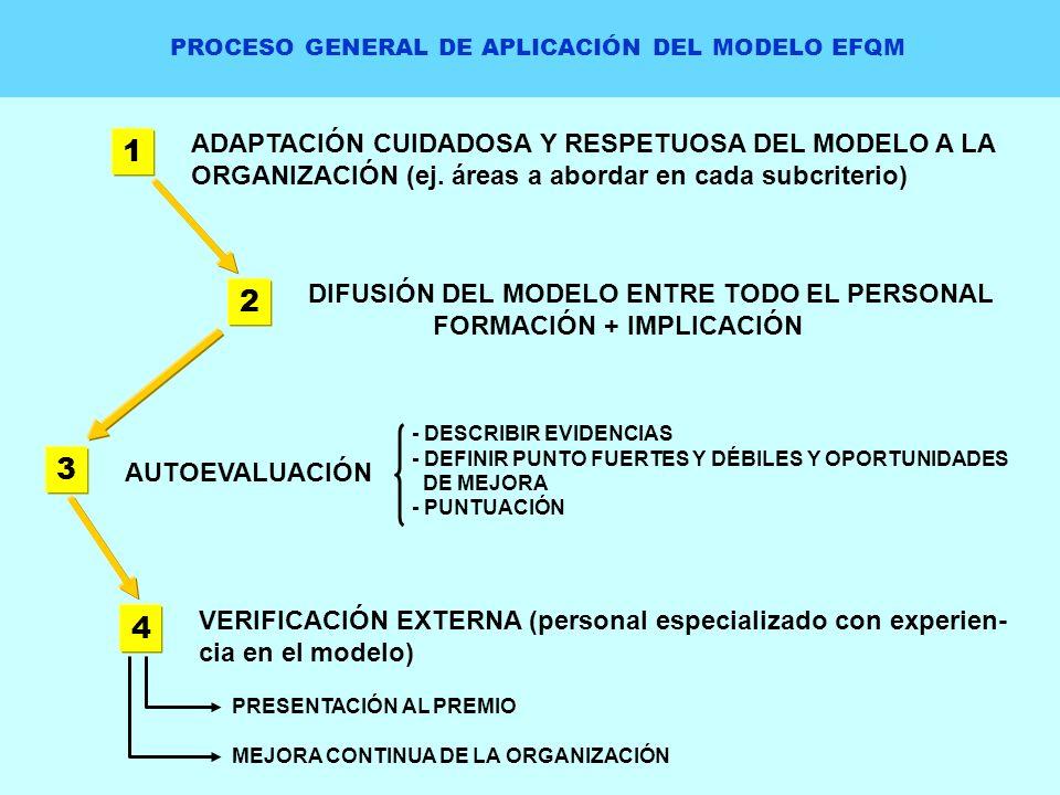 PROCESO GENERAL DE APLICACIÓN DEL MODELO EFQM 1 ADAPTACIÓN CUIDADOSA Y RESPETUOSA DEL MODELO A LA ORGANIZACIÓN (ej. áreas a abordar en cada subcriteri