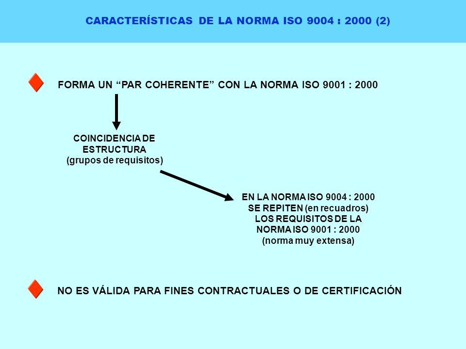CARACTERÍSTICAS DE LA NORMA ISO 9004 : 2000 (2) FORMA UN PAR COHERENTE CON LA NORMA ISO 9001 : 2000 NO ES VÁLIDA PARA FINES CONTRACTUALES O DE CERTIFI