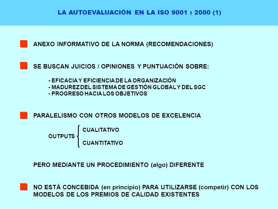 LA AUTOEVALUACIÓN EN LA ISO 9001 : 2000 (1) ANEXO INFORMATIVO DE LA NORMA (RECOMENDACIONES) SE BUSCAN JUICIOS / OPINIONES Y PUNTUACIÓN SOBRE: - EFICAC