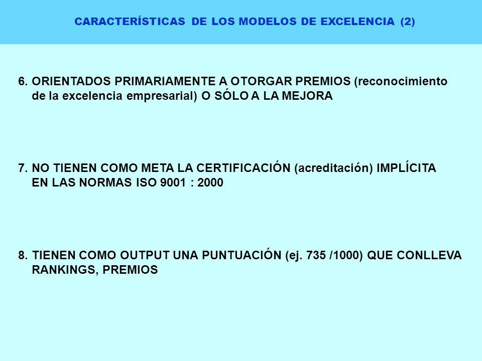 CARACTERÍSTICAS DE LOS MODELOS DE EXCELENCIA (2) 6. ORIENTADOS PRIMARIAMENTE A OTORGAR PREMIOS (reconocimiento de la excelencia empresarial) O SÓLO A