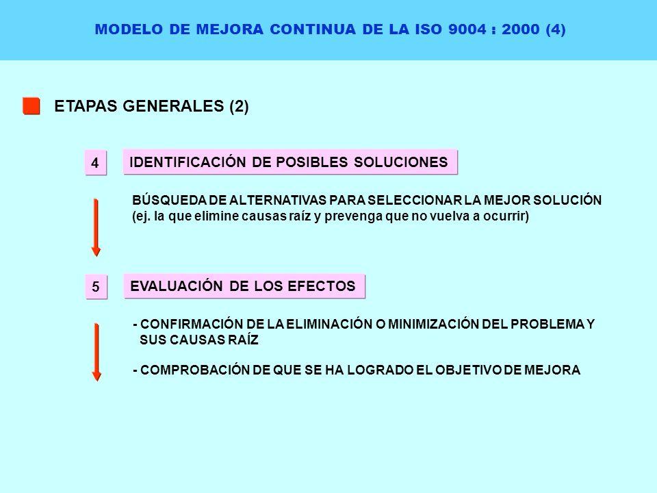 MODELO DE MEJORA CONTINUA DE LA ISO 9004 : 2000 (4) ETAPAS GENERALES (2) IDENTIFICACIÓN DE POSIBLES SOLUCIONES BÚSQUEDA DE ALTERNATIVAS PARA SELECCION