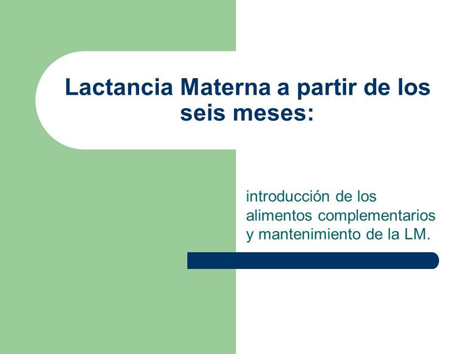 Lactancia Materna a partir de los seis meses: introducción de los alimentos complementarios y mantenimiento de la LM.