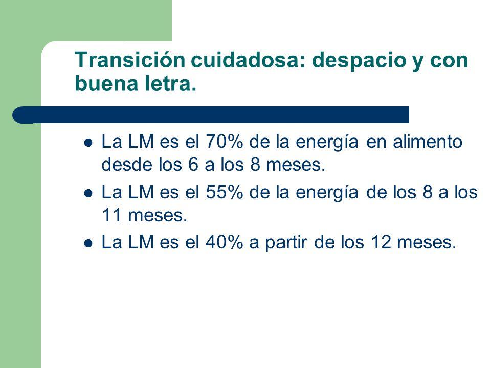 Transición cuidadosa: despacio y con buena letra. La LM es el 70% de la energía en alimento desde los 6 a los 8 meses. La LM es el 55% de la energía d
