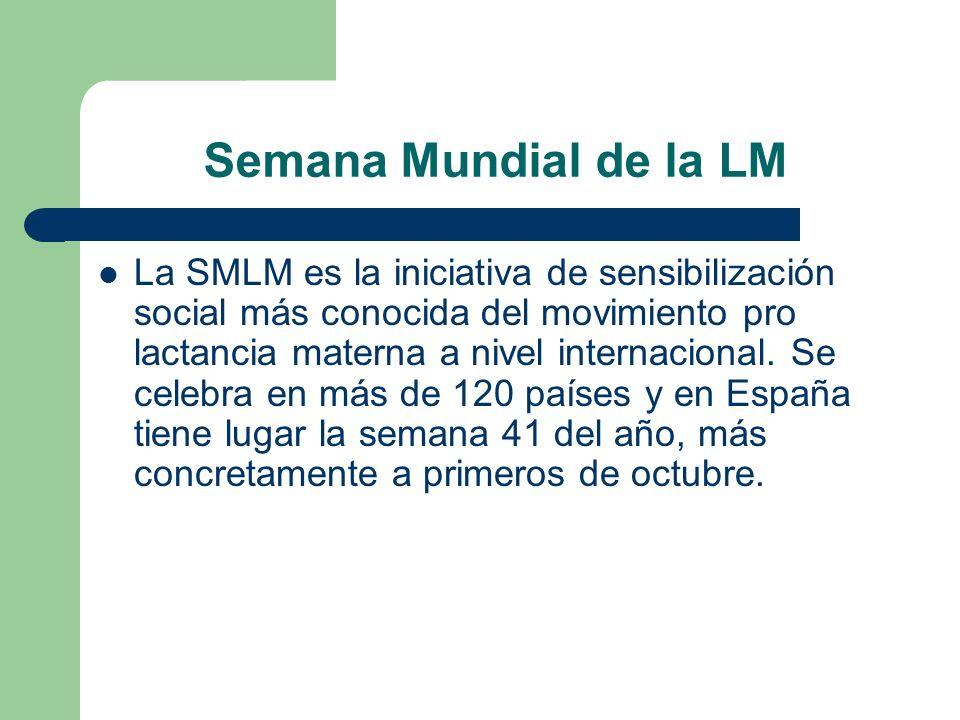 Semana Mundial de la LM La SMLM es la iniciativa de sensibilización social más conocida del movimiento pro lactancia materna a nivel internacional. Se