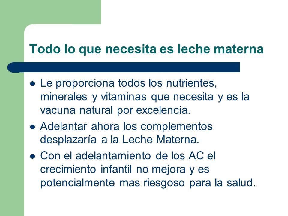 Todo lo que necesita es leche materna Le proporciona todos los nutrientes, minerales y vitaminas que necesita y es la vacuna natural por excelencia. A