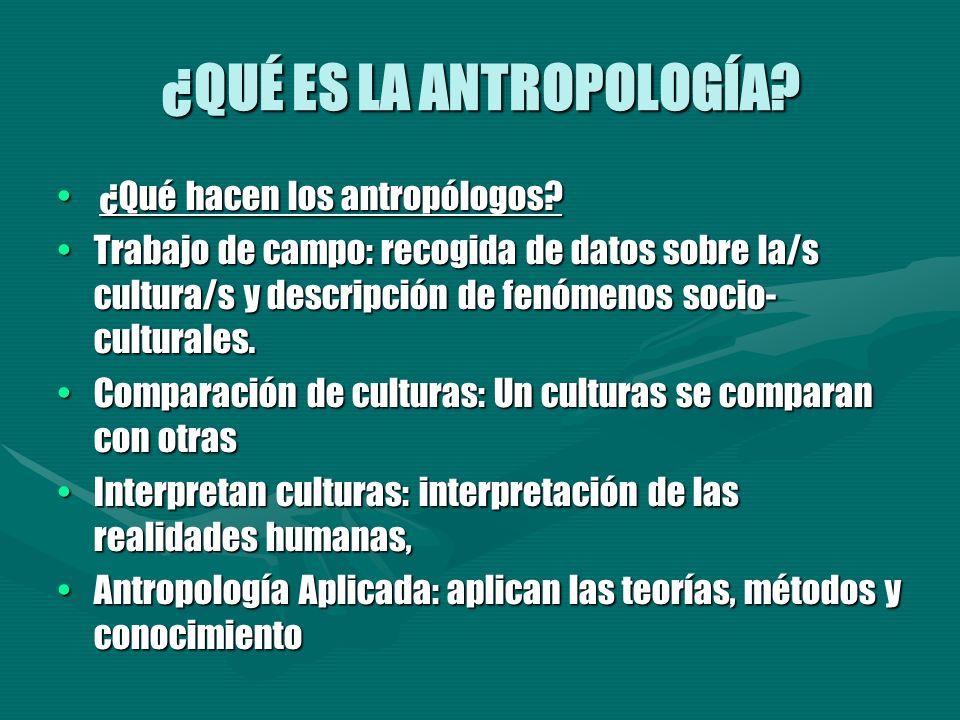 ¿QUÉ ES LA ANTROPOLOGÍA? ¿Qué hacen los antropólogos? ¿Qué hacen los antropólogos? Trabajo de campo: recogida de datos sobre la/s cultura/s y descripc
