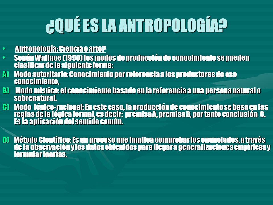 ¿QUÉ ES LA ANTROPOLOGÍA? Antropología: Ciencia o arte? Antropología: Ciencia o arte? Según Wallace (1990) los modos de producción de conocimiento se p