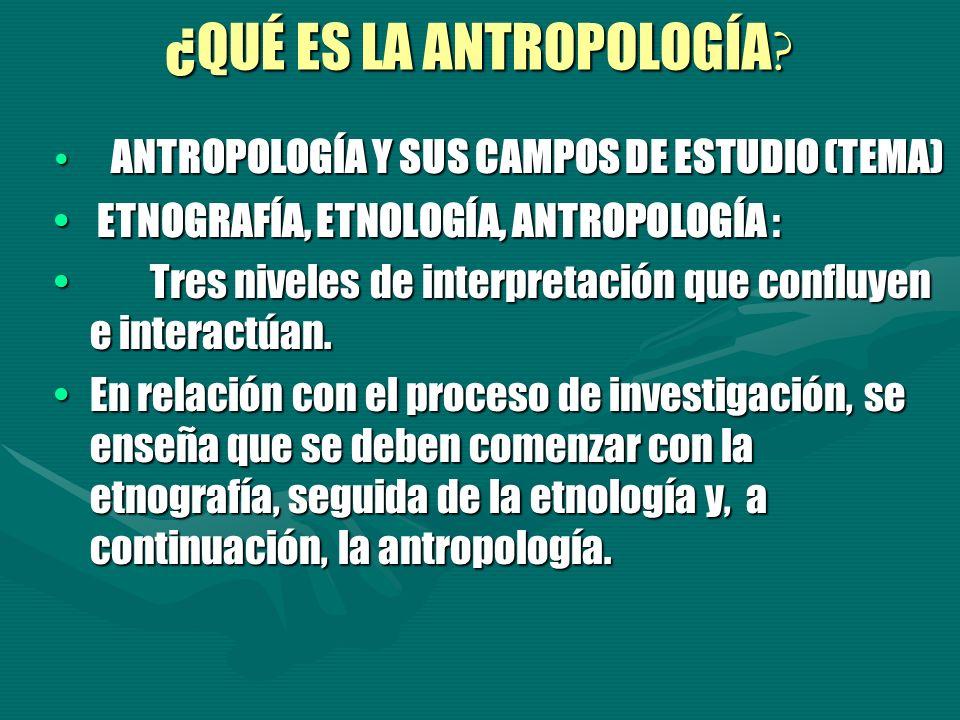 ANTROPOLOGÍA Y SUS CAMPOS DE ESTUDIO (TEMA) ANTROPOLOGÍA Y SUS CAMPOS DE ESTUDIO (TEMA) ETNOGRAFÍA, ETNOLOGÍA, ANTROPOLOGÍA : ETNOGRAFÍA, ETNOLOGÍA, A