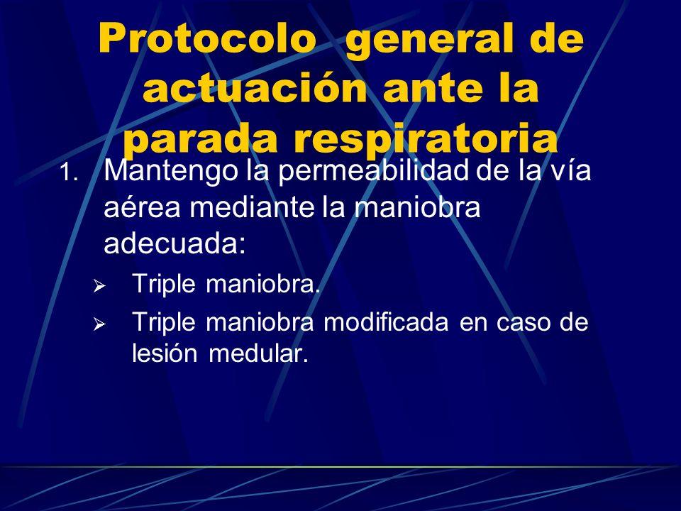 Protocolo general de actuación ante la parada respiratoria 1.