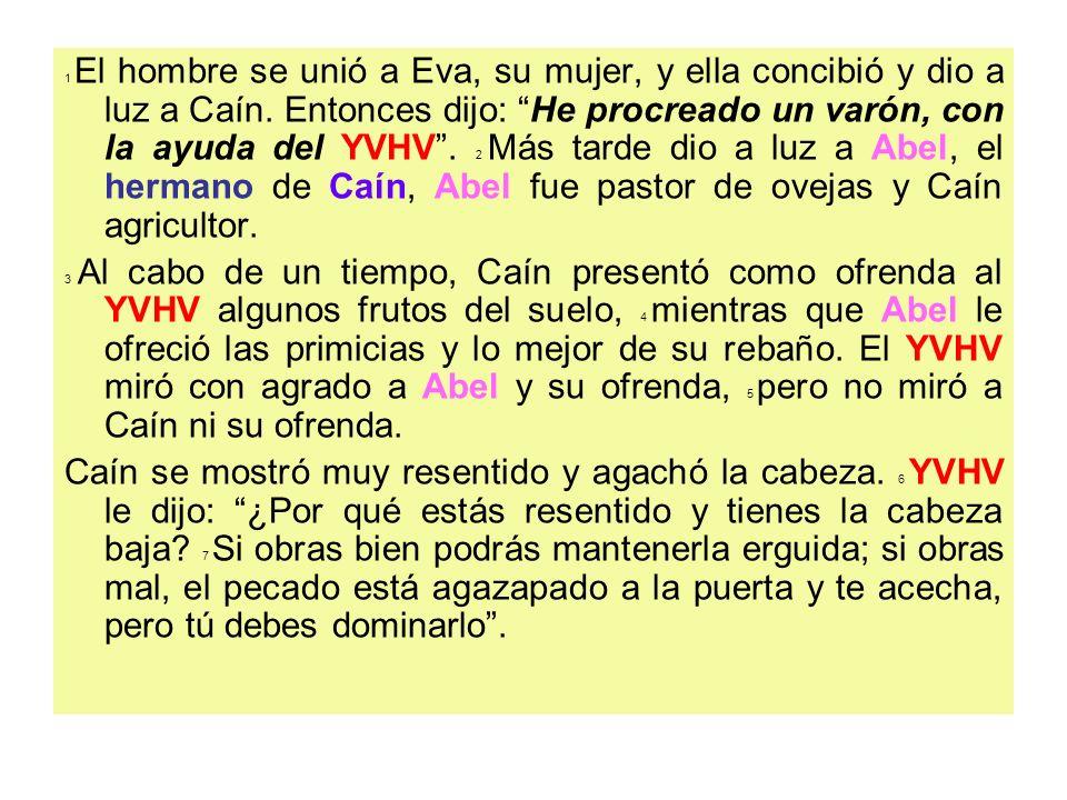 1 El hombre se unió a Eva, su mujer, y ella concibió y dio a luz a Caín. Entonces dijo: He procreado un varón, con la ayuda del YVHV. 2 Más tarde dio