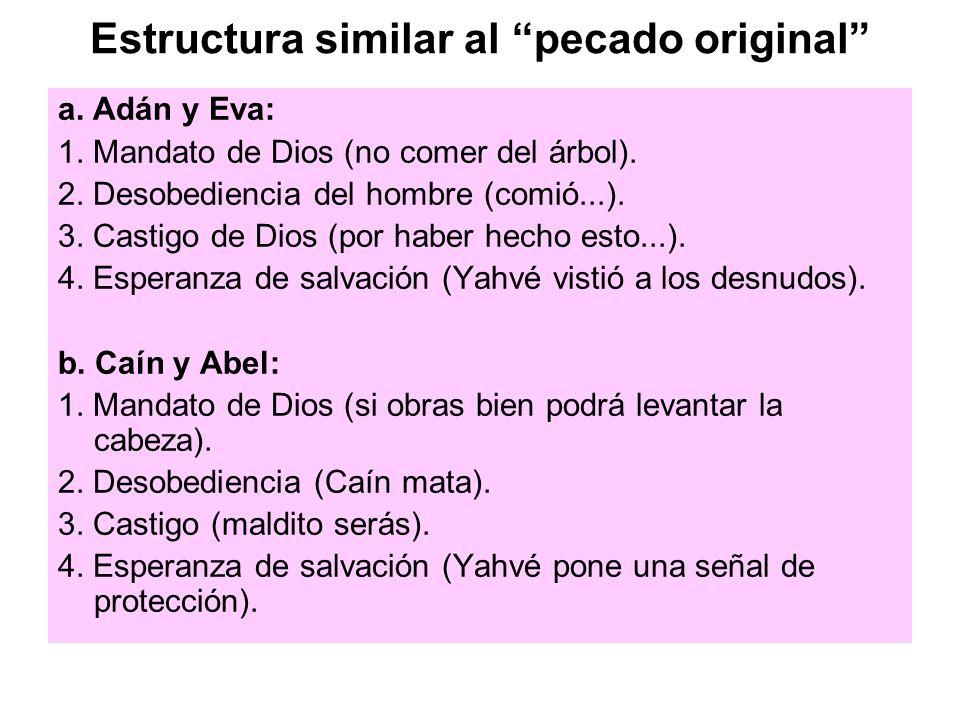 Estructura similar al pecado original a. Adán y Eva: 1. Mandato de Dios (no comer del árbol). 2. Desobediencia del hombre (comió...). 3. Castigo de Di