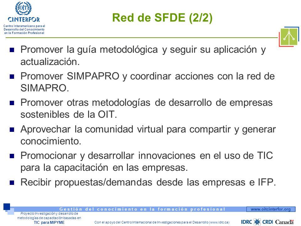 www.oitcinterfor.org G e s t i ó n d e l c o n o c i m i e n t o e n l a f o r m a c i ó n p r o f e s i o n a l Centro Interamericano para el Desarrollo del Conocimiento en la Formación Profesional Con el apoyo del Centro Internacional de Investigaciones para el Desarrollo (www.idrc.ca) Proyecto Investigación y desarrollo de metodologías de capacitación basadas en TIC para MIPYME Red de SFDE (2/2) Promover la guía metodológica y seguir su aplicación y actualización.