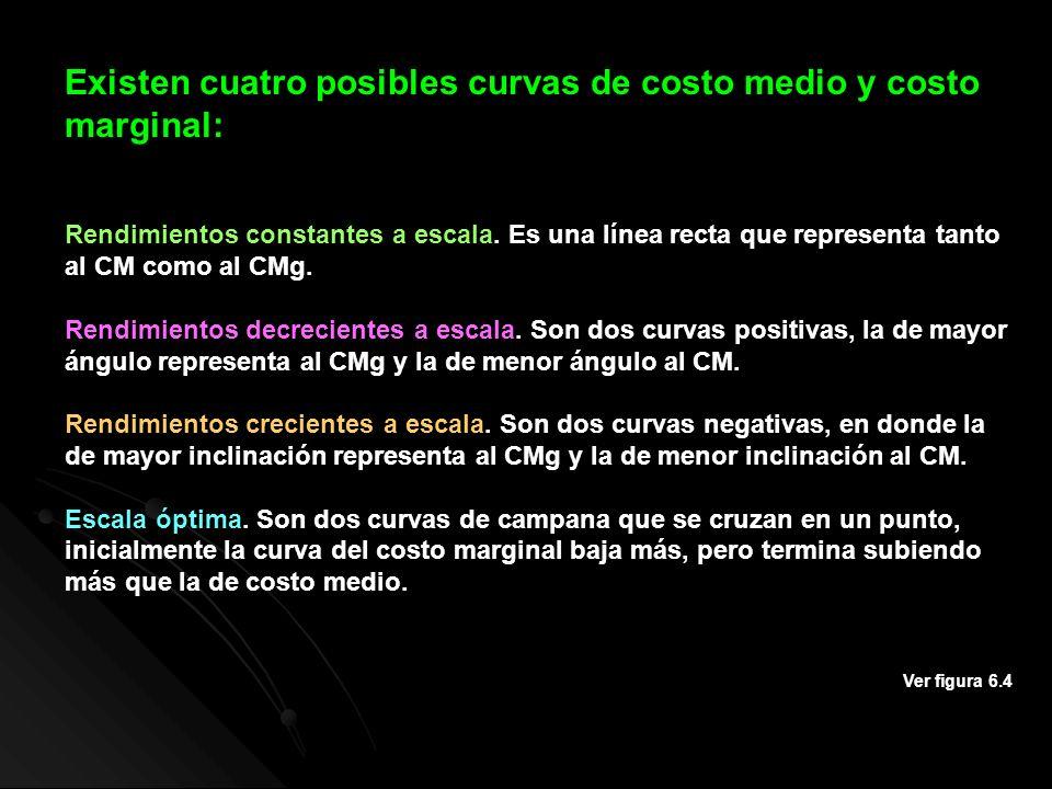 Existen cuatro posibles curvas de costo medio y costo marginal: Rendimientos constantes a escala. Es una línea recta que representa tanto al CM como a