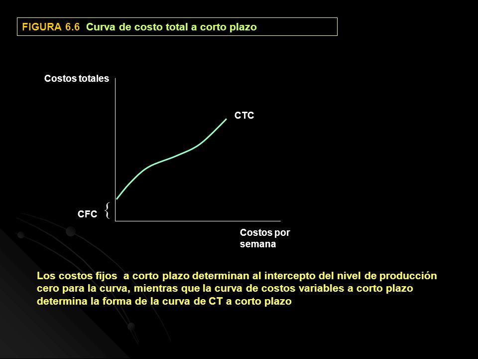 FIGURA 6.6 Curva de costo total a corto plazo CFC CTC Costos totales Costos por semana Los costos fijos a corto plazo determinan al intercepto del niv