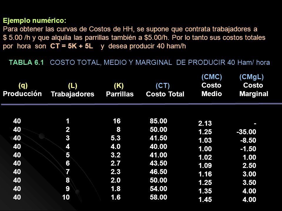 TABLA 6.1 COSTO TOTAL, MEDIO Y MARGINAL DE PRODUCIR 40 Ham/ hora (q) Producción (L) Trabajadores 40 1 2 3 4 5 6 7 8 9 10 16 8 5.3 4.0 3.2 2.7 2.3 2.0