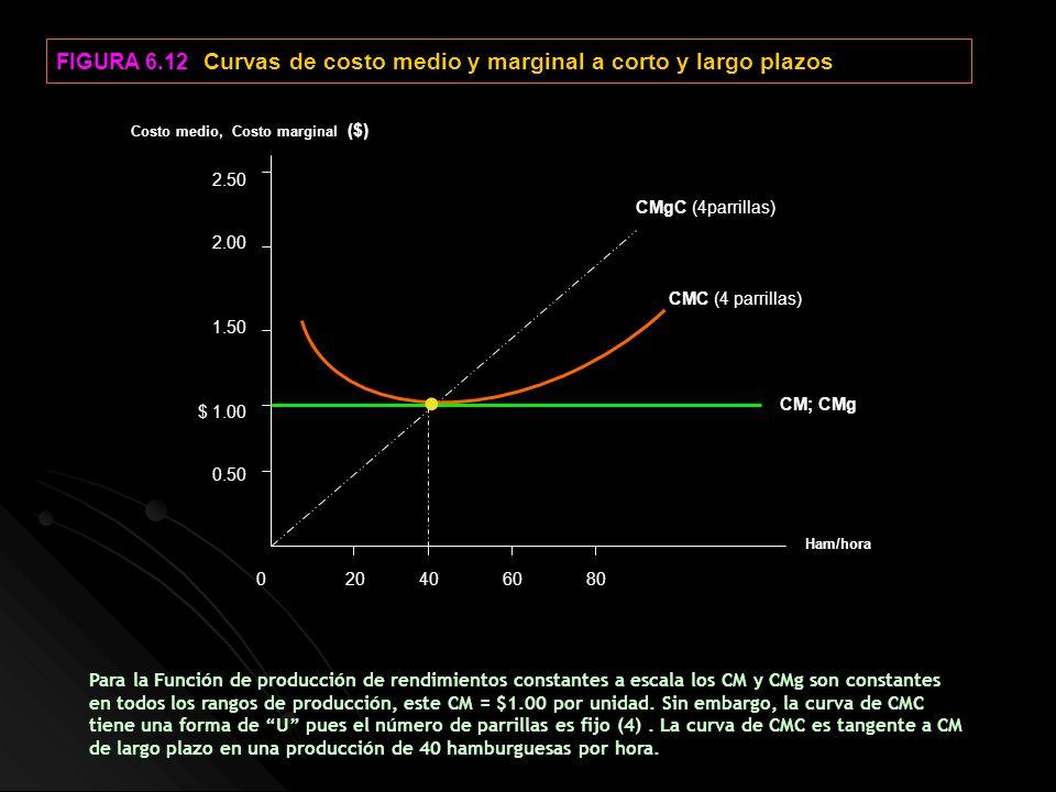 FIGURA 6.12 Curvas de costo medio y marginal a corto y largo plazos 0 20 40 60 80 2.50 2.00 1.50 $ 1.00 0.50 CM; CMg Ham/hora Costo medio, Costo margi