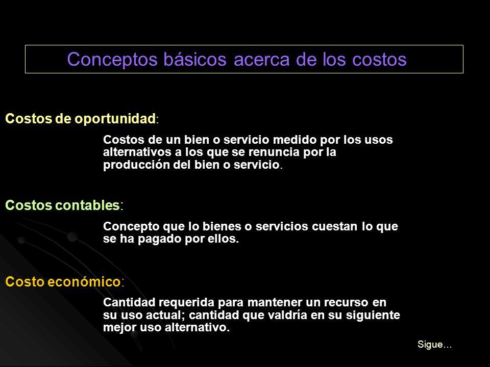 Conceptos básicos acerca de los costos Costos de oportunidad : Costos de un bien o servicio medido por los usos alternativos a los que se renuncia por