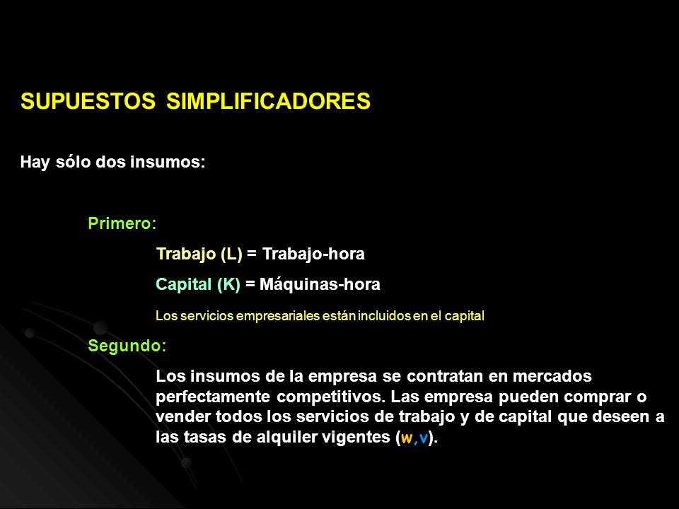 SUPUESTOS SIMPLIFICADORES Hay sólo dos insumos: Primero: Trabajo (L) = Trabajo-hora Capital (K) = Máquinas-hora Los servicios empresariales están incl