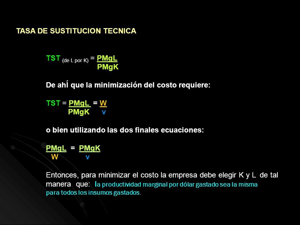 TASA DE SUSTITUCION TECNICA TST (de L por K) = PMgL PMgK De ahÍ que la minimización del costo requiere: TST = PMgL = W PMgK v o bien utilizando las do