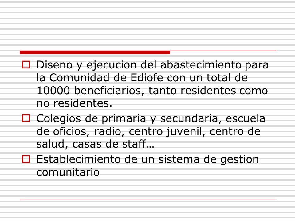 Diseno y ejecucion del abastecimiento para la Comunidad de Ediofe con un total de 10000 beneficiarios, tanto residentes como no residentes. Colegios d