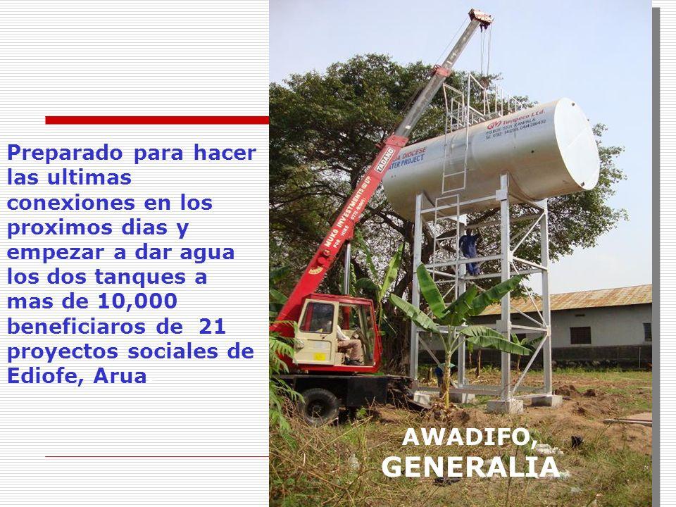 Preparado para hacer las ultimas conexiones en los proximos dias y empezar a dar agua los dos tanques a mas de 10,000 beneficiaros de 21 proyectos soc