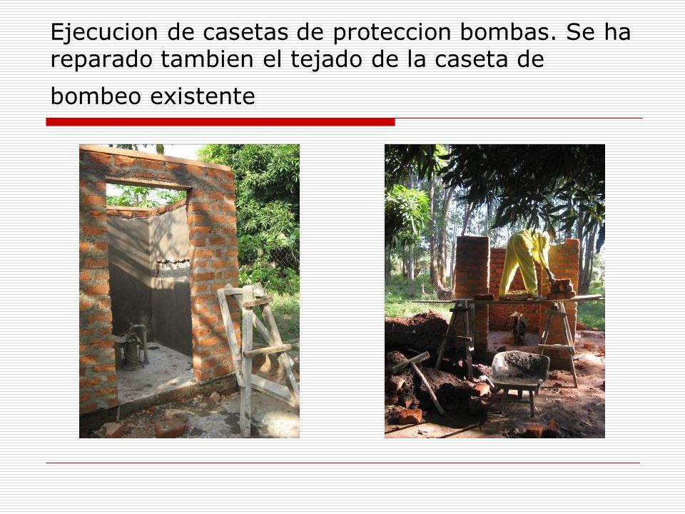 Ejecucion de casetas de proteccion bombas. Se ha reparado tambien el tejado de la caseta de bombeo existente