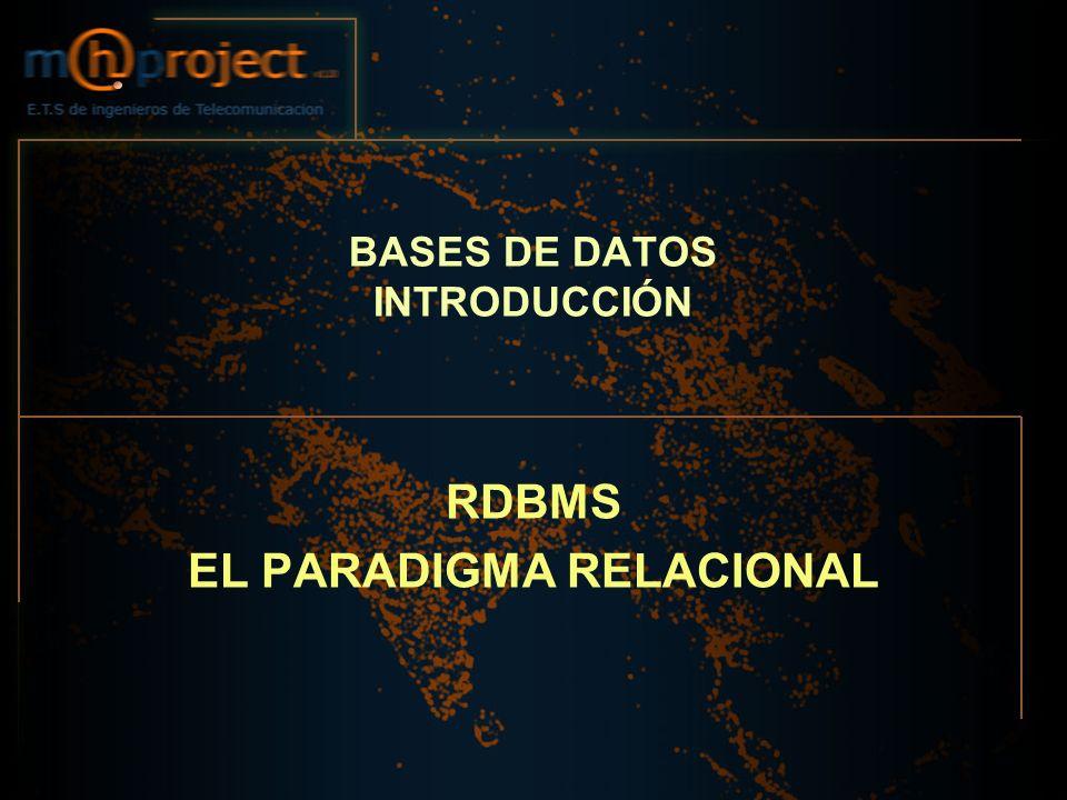 BASES DE DATOS INTRODUCCIÓN RDBMS EL PARADIGMA RELACIONAL