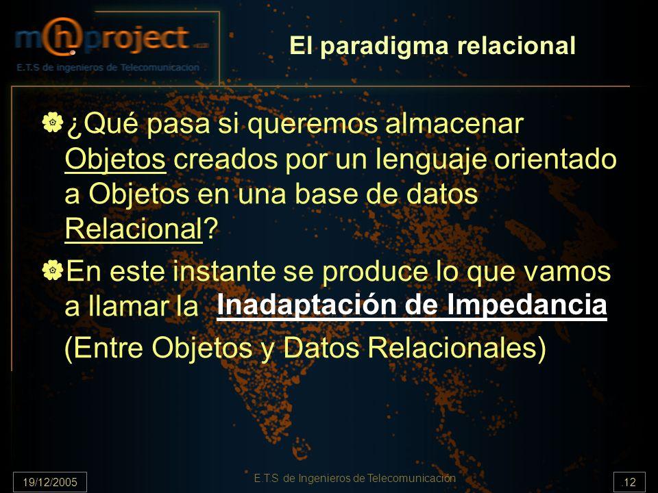 19/12/2005.12 E.T.S de Ingenieros de Telecomunicación El paradigma relacional ¿Qué pasa si queremos almacenar Objetos creados por un lenguaje orientad