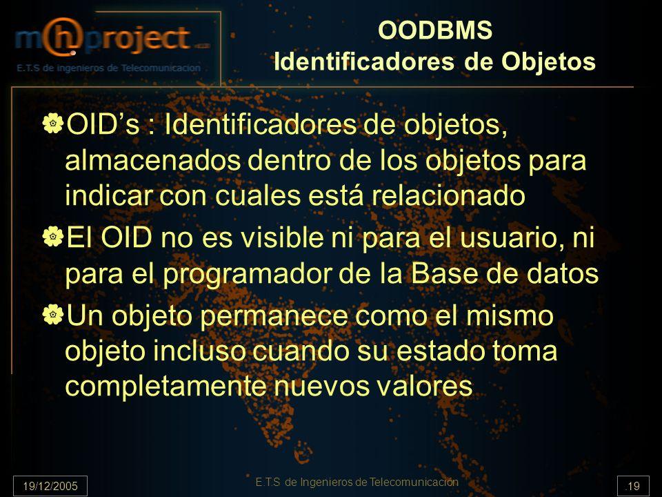 19/12/2005.19 E.T.S de Ingenieros de Telecomunicación OODBMS Identificadores de Objetos OIDs : Identificadores de objetos, almacenados dentro de los o