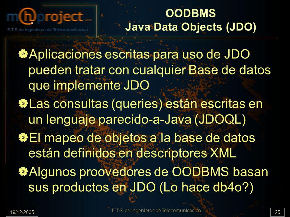 19/12/2005.25 E.T.S de Ingenieros de Telecomunicación OODBMS Java Data Objects (JDO) Aplicaciones escritas para uso de JDO pueden tratar con cualquier