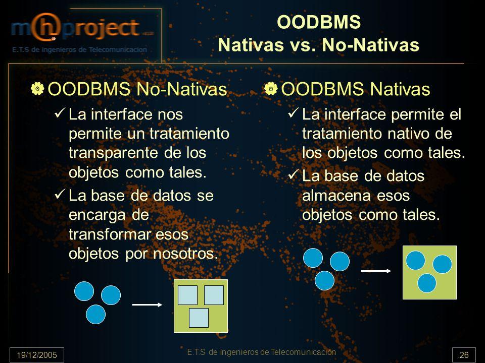 19/12/2005.26 E.T.S de Ingenieros de Telecomunicación OODBMS Nativas vs. No-Nativas OODBMS No-Nativas La interface nos permite un tratamiento transpar